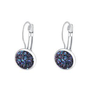 Silver & Navy Sparkly Druzy Drop Earrings